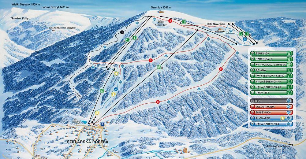 Plano de pista Estación de esquí Ski Arena Szrenica / Sudety Lift - Szklarska Poreba