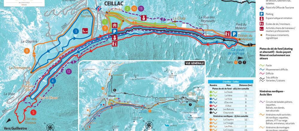 Loipenplan Ceillac - Vallée du Cristillan