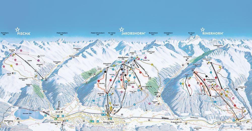 Mapa zjazdoviek Lyžiarske stredisko Davos Pischa
