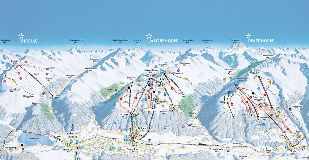 Plan skijaških staza Skijaško područje Davos Pischa