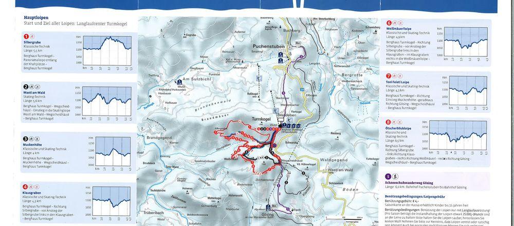 Loipenplan Langlauferlebnis Turmkogel / Puchenstuben