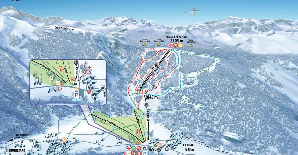 Plan skijaških staza Skijaško područje Arvieux en Queyras