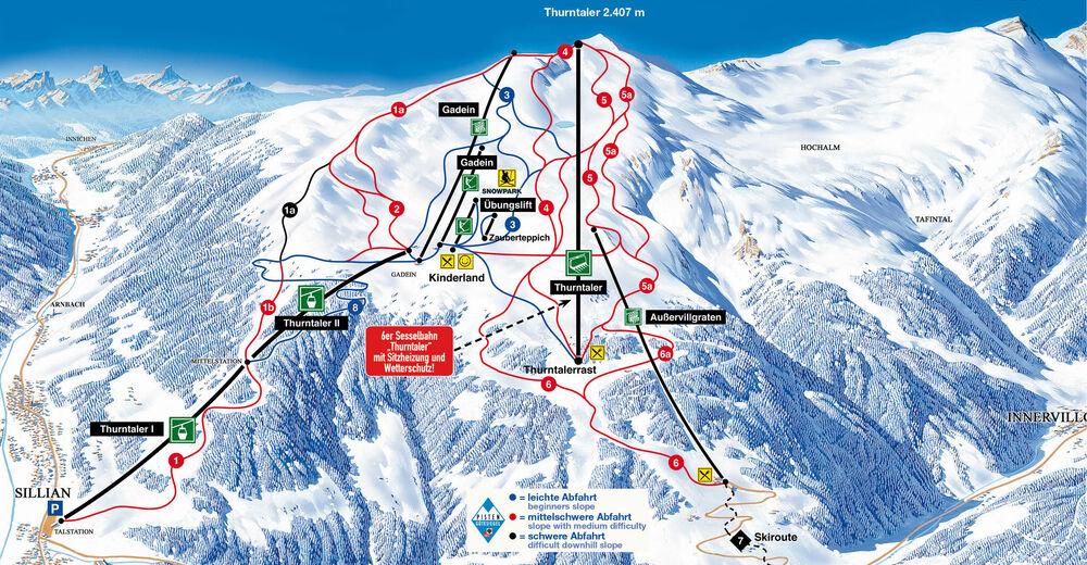Planul pistelor Zonă de schi Sillian - Hochpustertal