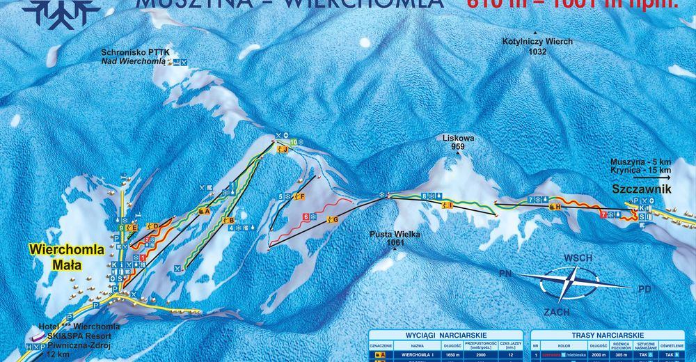 Plan skijaških staza Skijaško područje Dwie Doliny Muszyna - Wierchomla