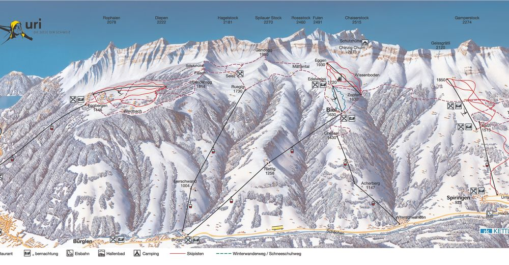 Piste map Ski resort Biel-Kinzig