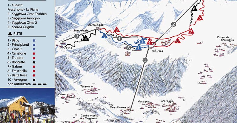 Mapa zjazdoviek Lyžiarske stredisko Craveggia - Piana di Vigezzo