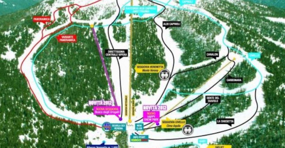 Bakkeoversikt Skiområde Monte Verena 2000 / Roana - Asiago