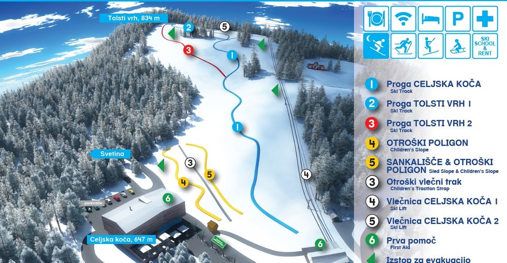 Bakkeoversikt Skiområde Celjska koča