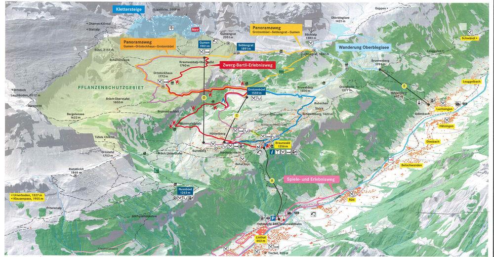 Piste map Ski resort Braunwald