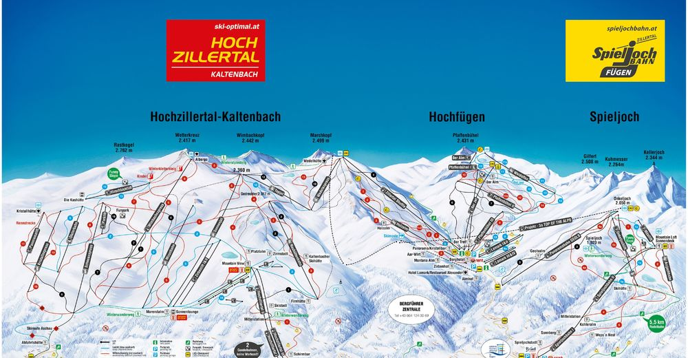 Piste map Ski resort Hochzillertal