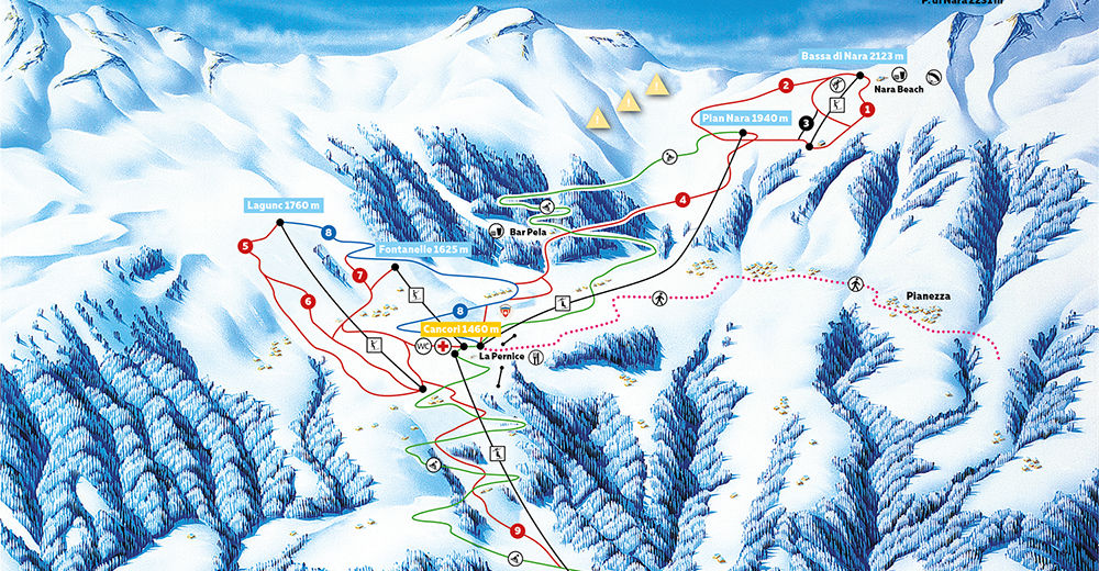 Pistenplan Skigebiet Nara / Leontica-Cancorì