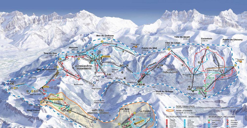 Mappa delle piste Comparto sciistico La Chapelle d'Abondance / Portes du Soleil