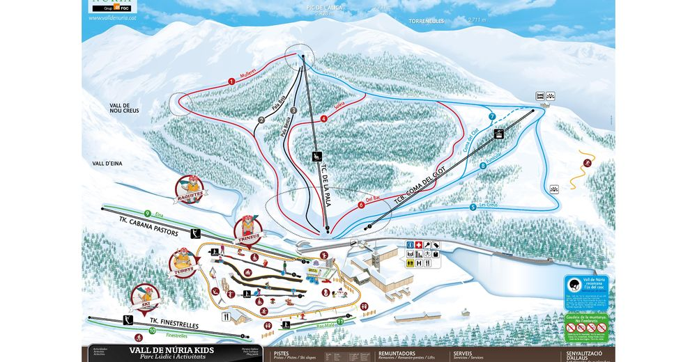 Piste map Ski resort Vall de Núria