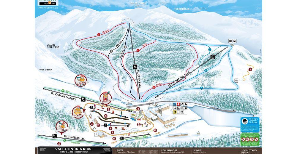 Bakkeoversikt Skiområde Vall de Núria