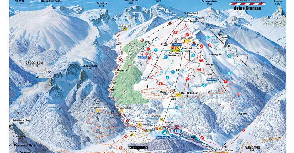 Piste map Ski resort Golm im Montafon