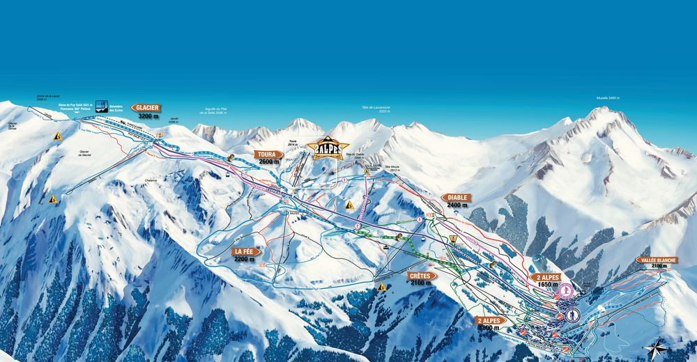 Piste map Ski resort Les 2 Alpes