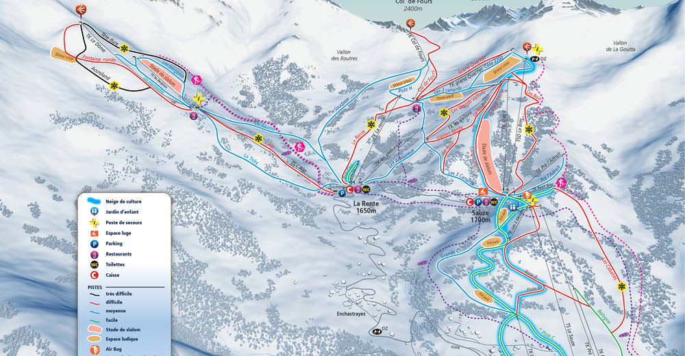Piste map Ski resort Sauze - Sauze 1700