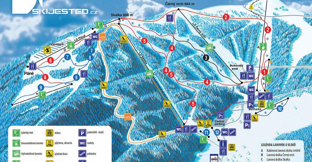 Plán sjezdovky Lyžařská oblast Ski areál Ještěd / Liberec