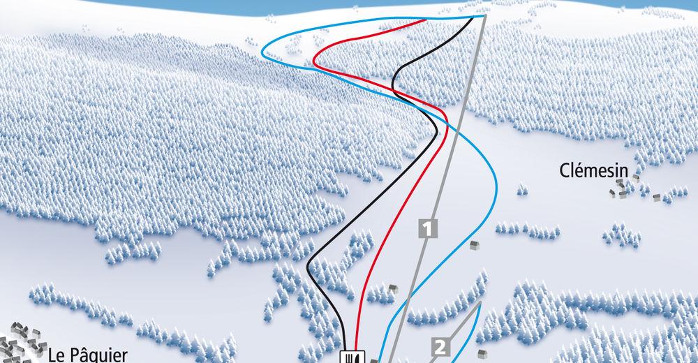 Pisteplan Skigebied Le Pâquier / Crêt-du-Puy
