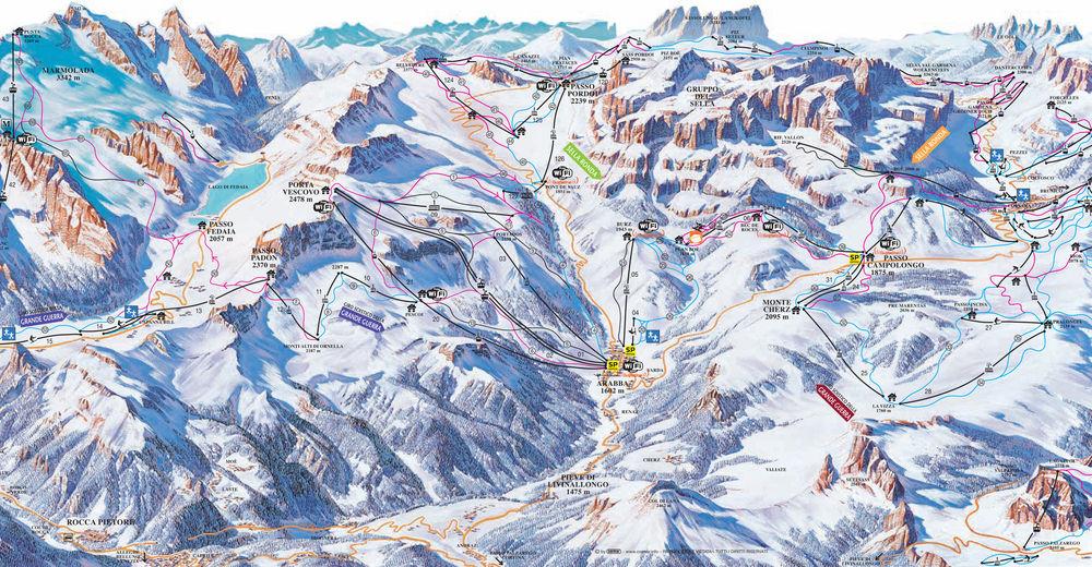 Pistenplan Skigebiet Marmolada Gletscher
