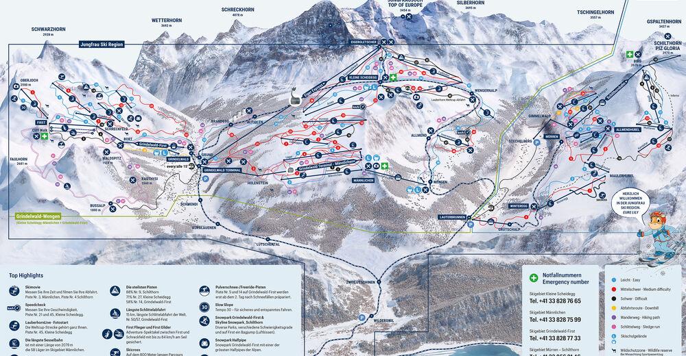 Mapa zjazdoviek Lyžiarske stredisko Jungfrau Ski Region Grindelwald - Wengen