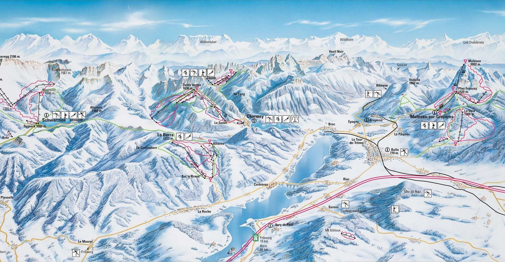Piste map Ski resort Fribourg Region