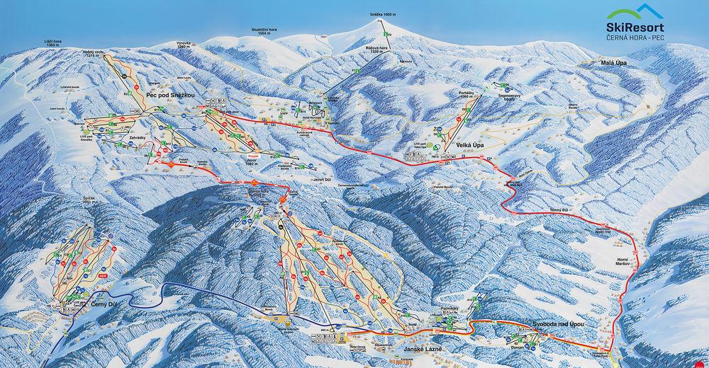 Bakkeoversikt Skiområde Černá hora - Janské Lázně / Černá hora - Pec