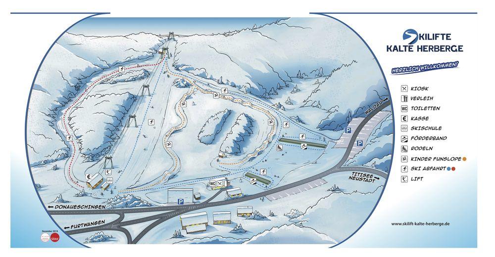 Pistenplan Skigebiet Kalte Herberge Urach / Vöhrenbach