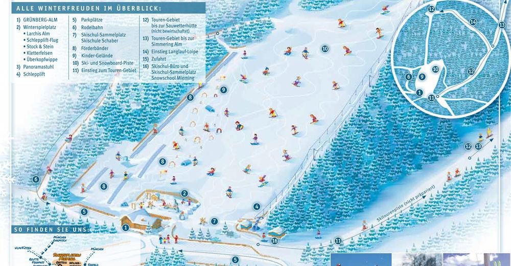 Pistenplan Skigebiet Grünberg Obsteig