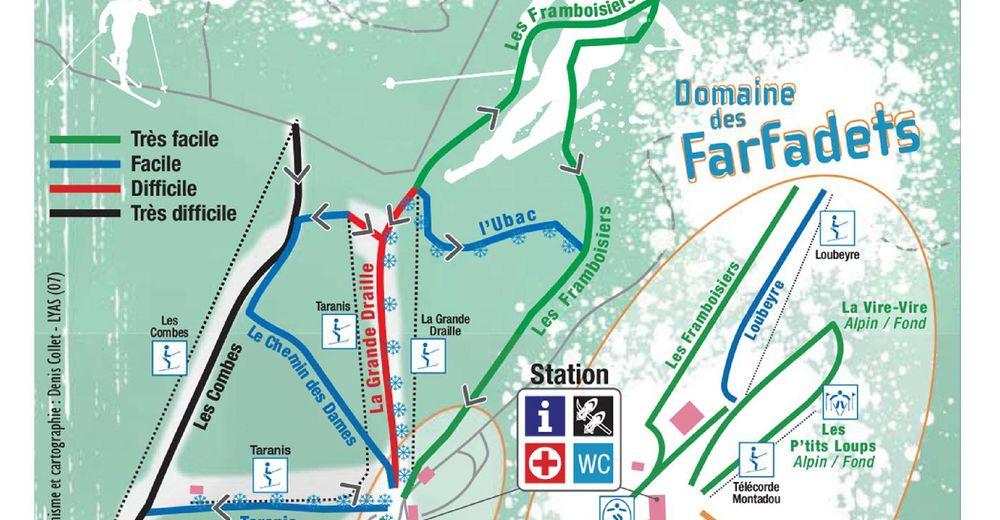 Pistenplan Skigebiet La Croix de Bauzon