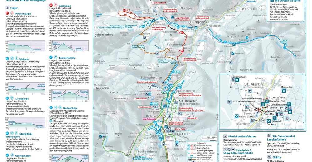 Plan de piste Station de ski St. Martin am Tennengebirge