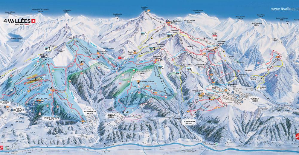 Mappa delle piste Comparto sciistico Veysonnaz / 4 Vallées