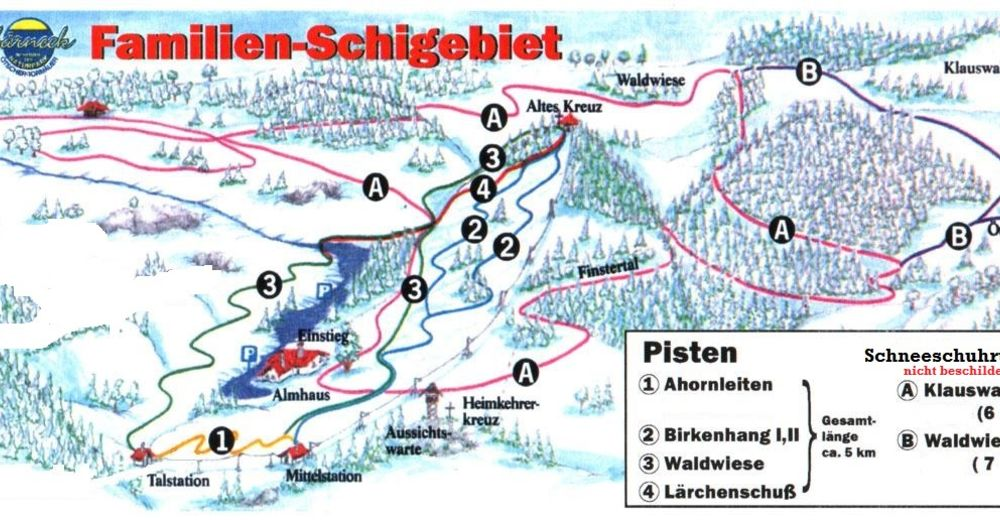 Mapa zjazdoviek Lyžiarske stredisko Hochbärneck