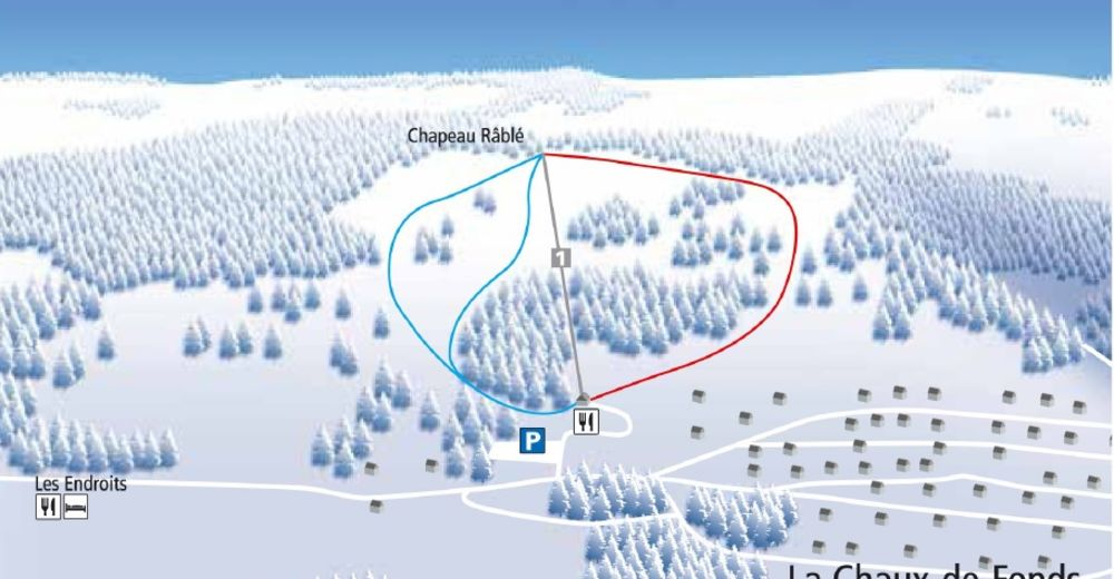 Piste map Ski resort La Chaux-de-Fonds