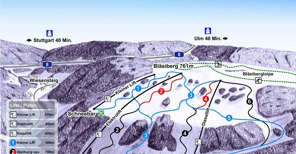 Pistenplan Skigebiet Wiesensteig - Bläsiberg