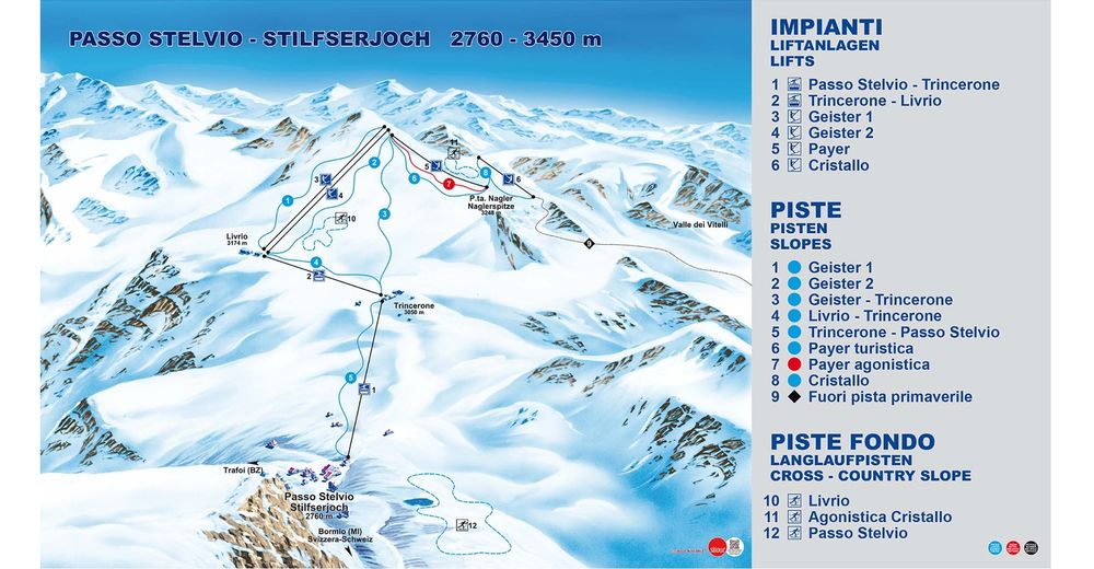 Piste map Ski resort Stilfser Joch - Ortlergebiet