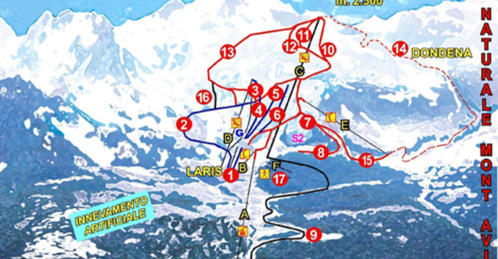 Mapa zjazdoviek Lyžiarske stredisko Champorcher / Monterosa