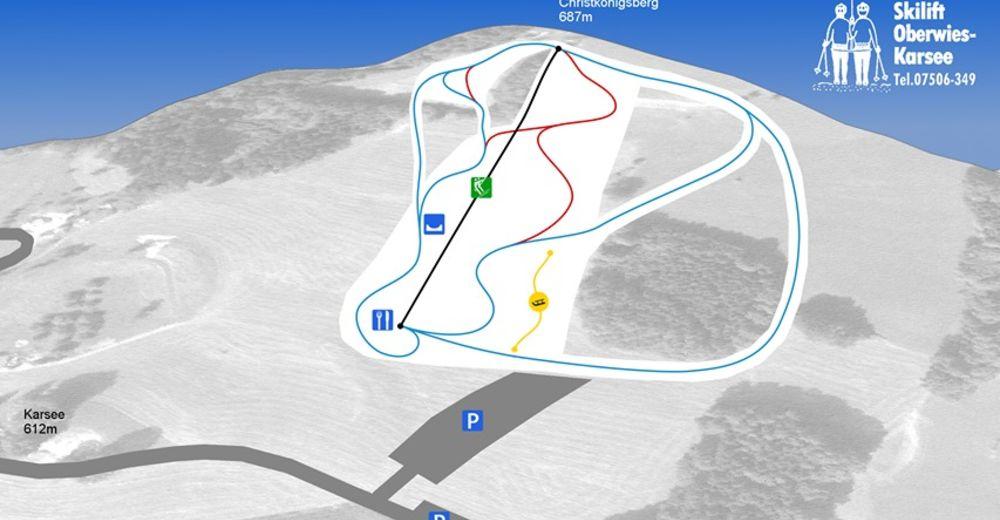 Pistenplan Skigebiet Skilift Karsee / Wangen
