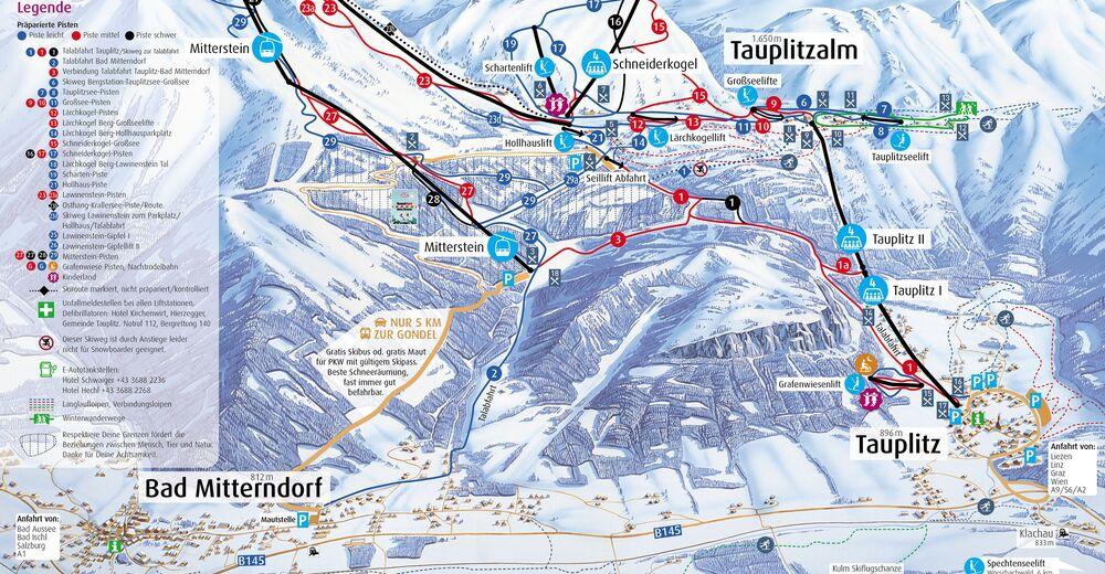 Pistplan Skidområde Tauplitz / Bad Mitterndorf - Schneebären