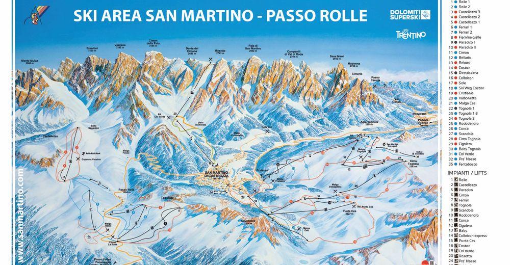 Mappa delle piste Comparto sciistico Passo Rolle