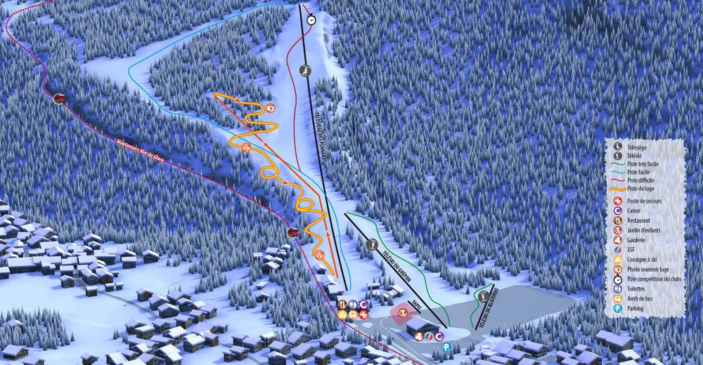 Plan skijaških staza Skijaško područje Les Planards