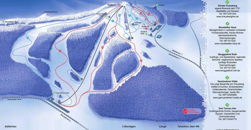 Plan skijaških staza Skijaško područje Kreuzberg - Bischofsheim