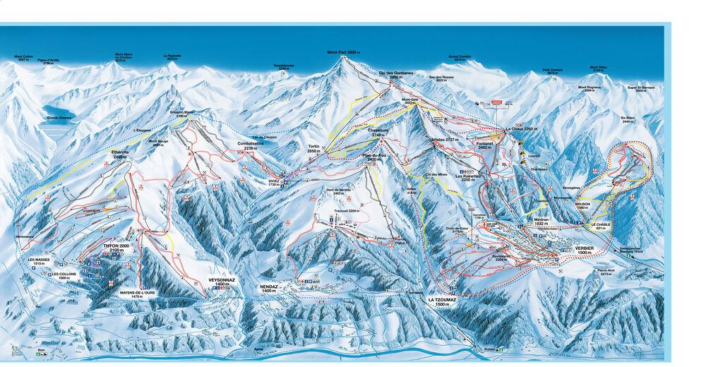 Pisteplan Skiområde Verbier / 4 Vallées