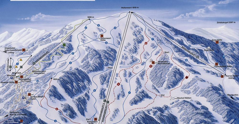 Pisteplan Skigebied Klippitztörl