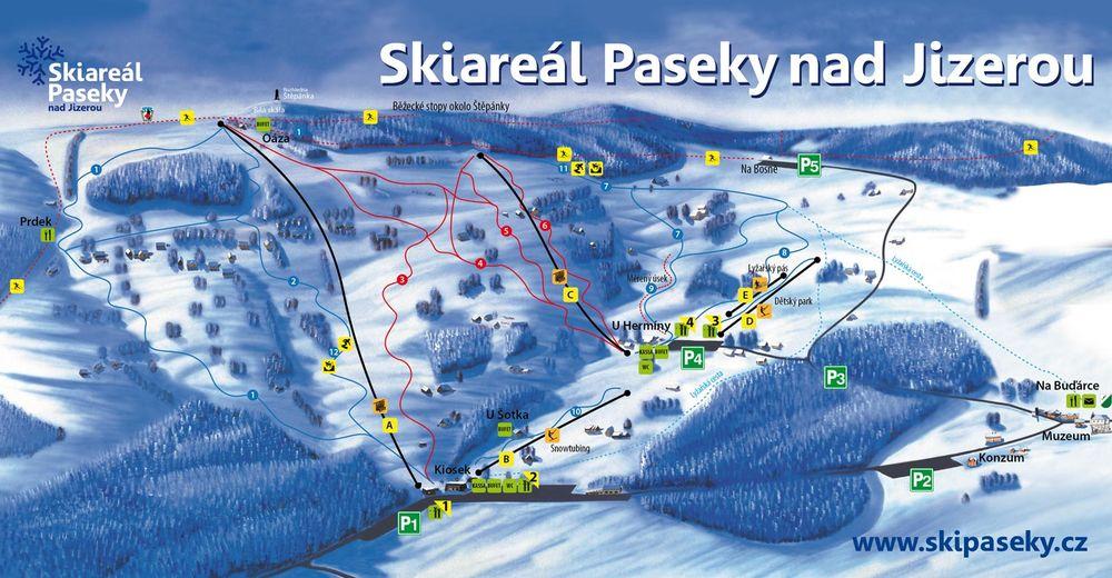 Planul pistelor Zonă de schi Paseky nad Jizerou / Rokytnice nad Jizerou