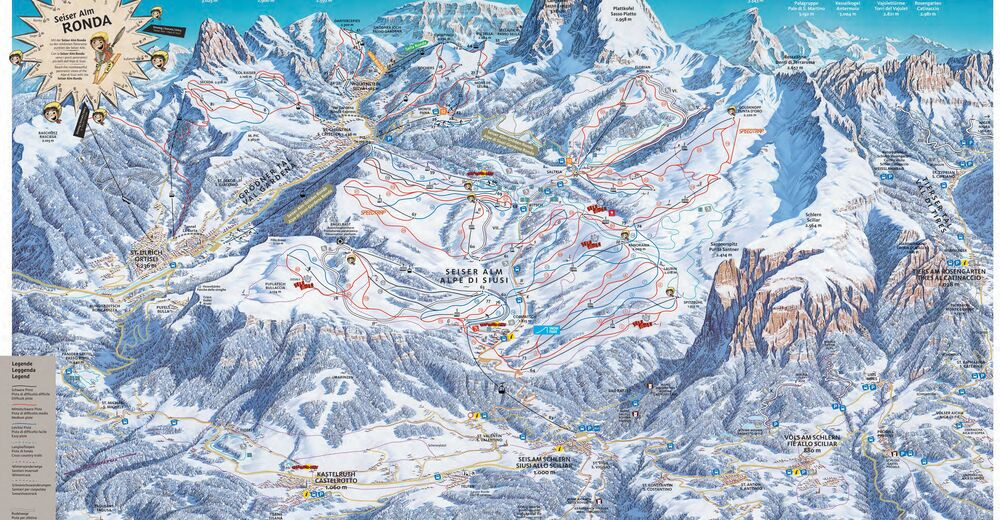Piste map Ski resort Seiser Alm