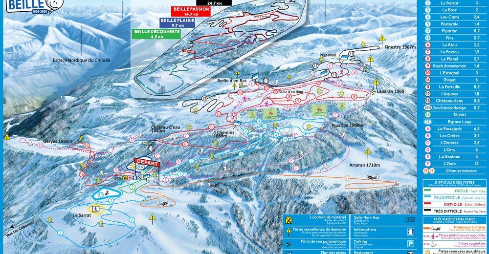 Bakkeoversikt Skiområde Plateau de Beille