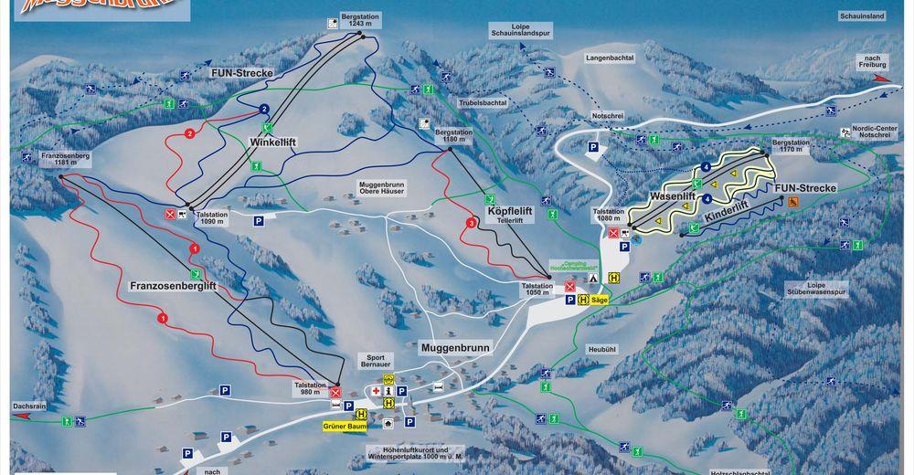 Pistenplan Skigebiet Muggenbrunn