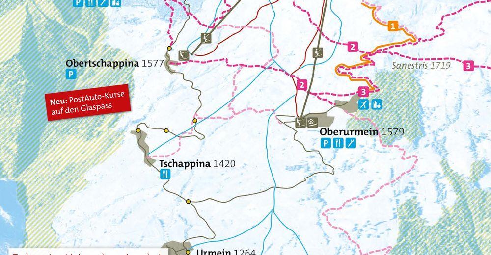 Rinnekartta Hiihtoalue Tschappina-Urmein-Heinzenberg