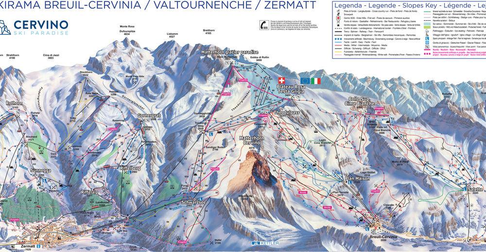 Plan skijaških staza Skijaško područje Valtournenche